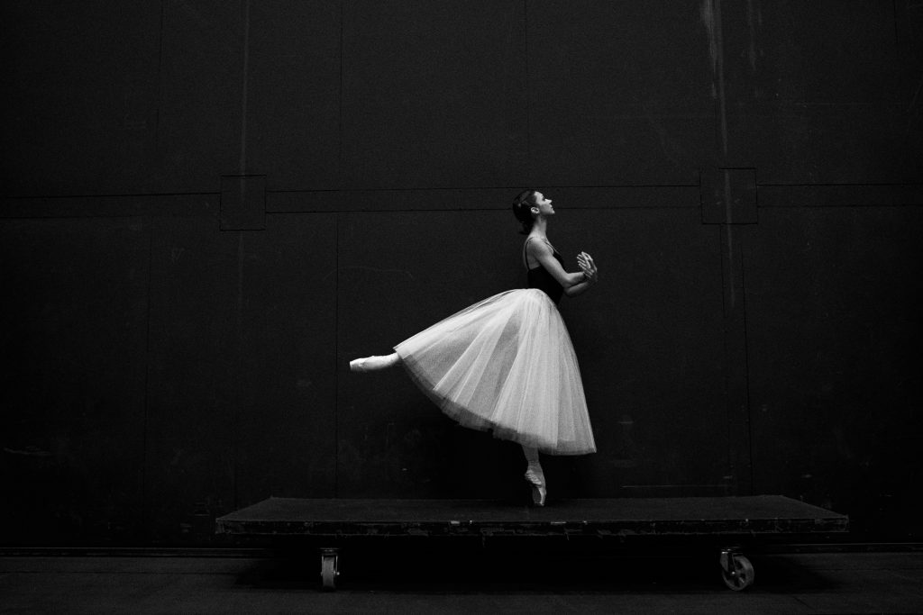 classical ballerina dress, black and white image